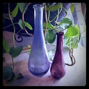 Other - Pair Colored Glass Bottles  Vases